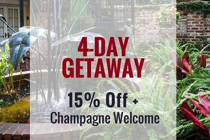 Eliza Thompson House special offer. Four day getaway. 15% + Champagne welcome